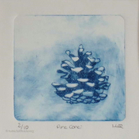 Pine cone drypoint print in blue