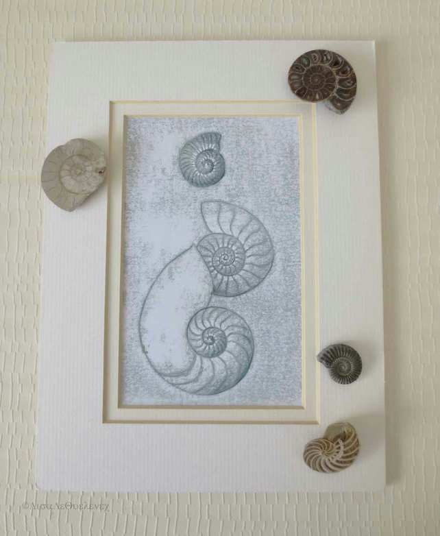 Original monoprint of three ammonite fossils with added mixed media