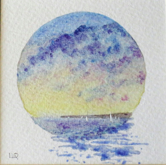 Original watercolour painting vignette sunset across the bay