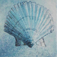 Scallop shell study original etching print with mixed media art work in blue
