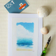 British seaside inspired handmade card turquoise seas and sandy beach