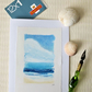 Original mixed media art card coastal view seascape summer beach