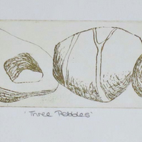 Three pebbles original etching print second artists proof print