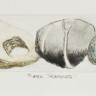 Original etching print of three pebbles third artists proof print