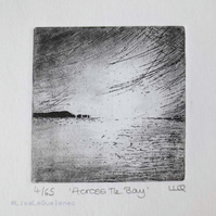 Coastal etching print across the bay no.4 of 65 original etching limited edition
