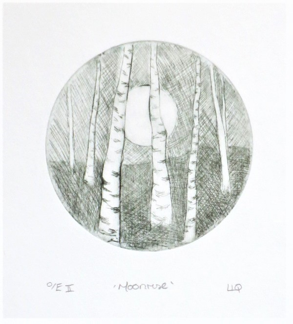 Moonrise, original drypoint print of the moon between birch trees in the forest
