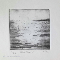 Headland an original etching of light on the ocean