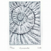 Etching no.39 of an ammonite fossil in an edition of 100