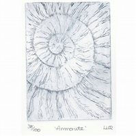 Etching no.38 of an ammonite fossil in an edition of 100