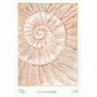 Etching no.40 of an ammonite fossil in an edition of 100