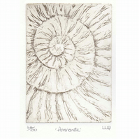 Etching no.44 of an ammonite fossil in an edition of 100