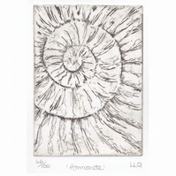Etching no.46 of an ammonite fossil in an edition of 100