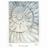 Etching no.50 of an ammonite fossil in an edition of 100