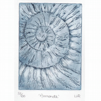 Etching no.32 of an ammonite fossil in an edition of 100