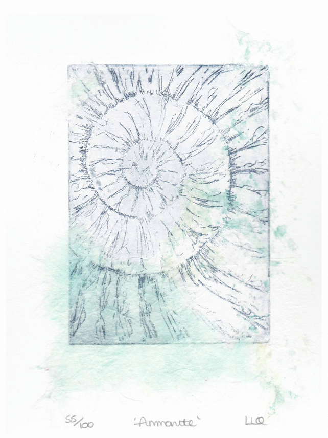 Etching no.55 of an ammonite fossil with chine colle in an edition of 100