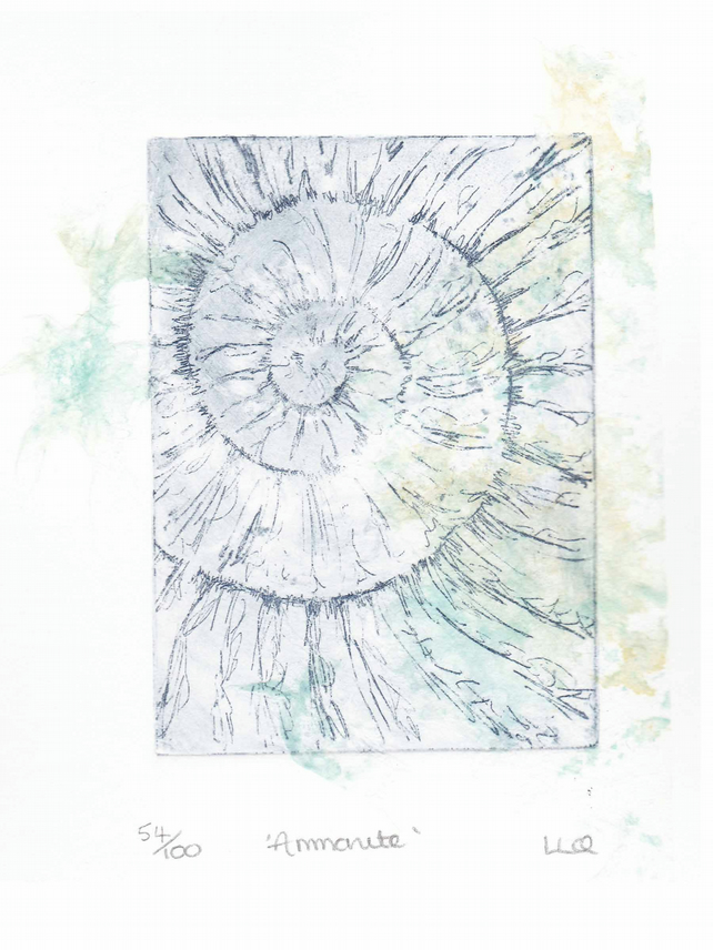 Etching no.54 of an ammonite fossil with chine colle in an edition of 100