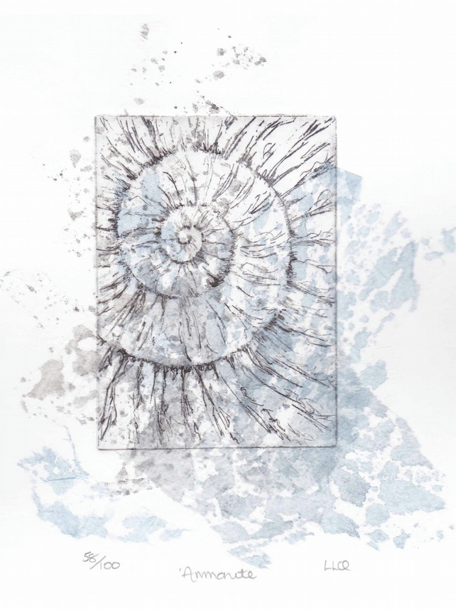 Etching no.58 of an ammonite fossil with chine colle in an edition of 100