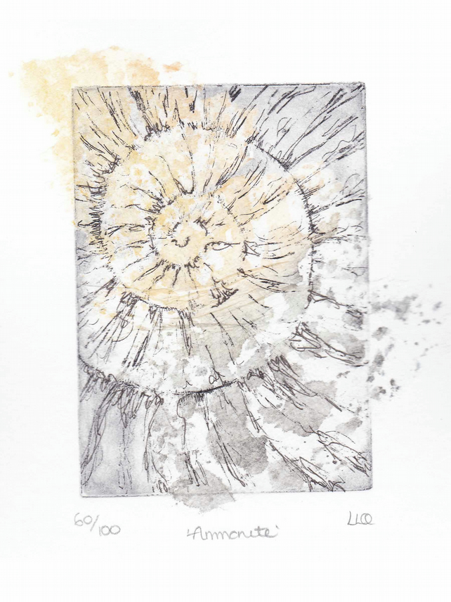 Etching no.60 of an ammonite fossil with chine colle in an edition of 100