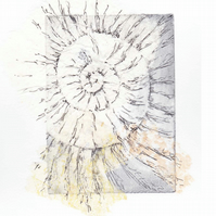 Etching no.65 of an ammonite fossil with mixed media in an edition of 100