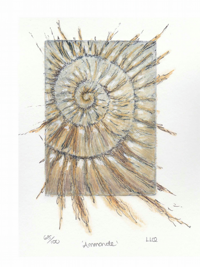 Etching no.68 of an ammonite fossil with mixed media in an edition of 100