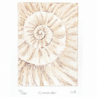 Etching no.73 of an ammonite fossil with mixed media in an edition of 100