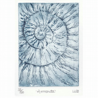 Etching no.33 of an ammonite fossil in an edition of 100
