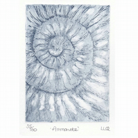 Etching no.35 of an ammonite fossil in an edition of 100