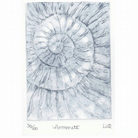 Etching no.36 of an ammonite fossil in an edition of 100