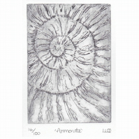 Etching no.14 of an ammonite fossil in an edition of 100