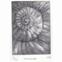 Etching no.21 of an ammonite fossil in an edition of 100