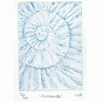 Etching no.22 of an ammonite fossil in an edition of 100