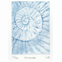 Etching no.24 of an ammonite fossil in an edition of 100