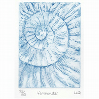 Etching no.25 of an ammonite fossil in an edition of 100