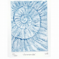 Etching no.27 of an ammonite fossil in an edition of 100