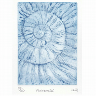 Etching no.28 of an ammonite fossil in an edition of 100