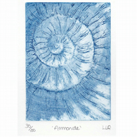 Etching no.30 of an ammonite fossil in an edition of 100