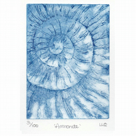 Etching no.31 of an ammonite fossil in an edition of 100