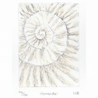 Etching no.74 of an ammonite fossil with mixed media in an edition of 100