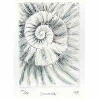 Etching no.79 of an ammonite fossil with mixed media in an edition of 100