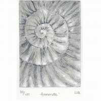Etching no.80 of an ammonite fossil with mixed media in an edition of 100