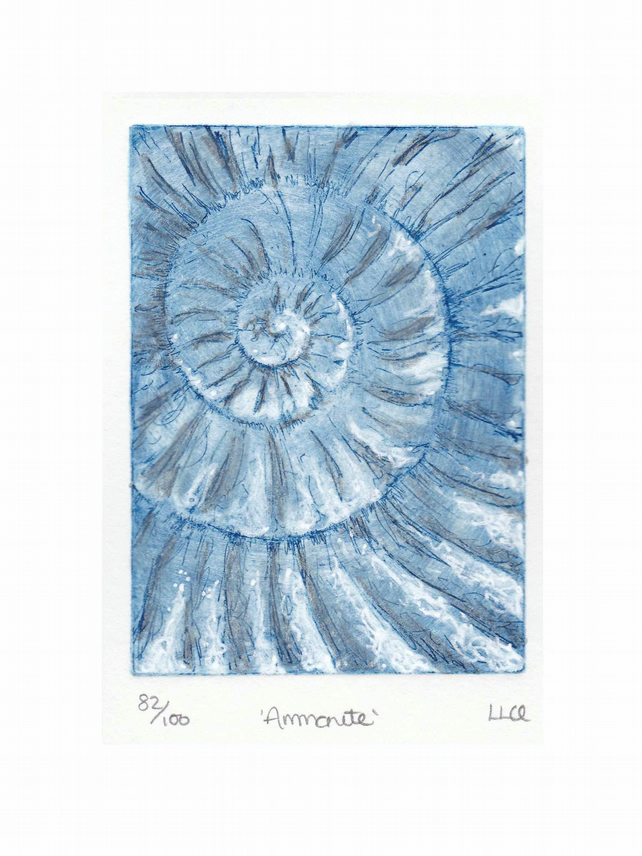 Etching no.82 of an ammonite fossil with mixed media in an edition of 100