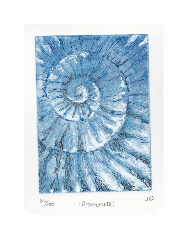 Etching no.84 of an ammonite fossil with mixed media in an edition of 100