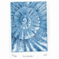 Etching no.83 of an ammonite fossil with mixed media in an edition of 100