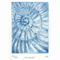 Etching no.85 of an ammonite fossil with mixed media in an edition of 100
