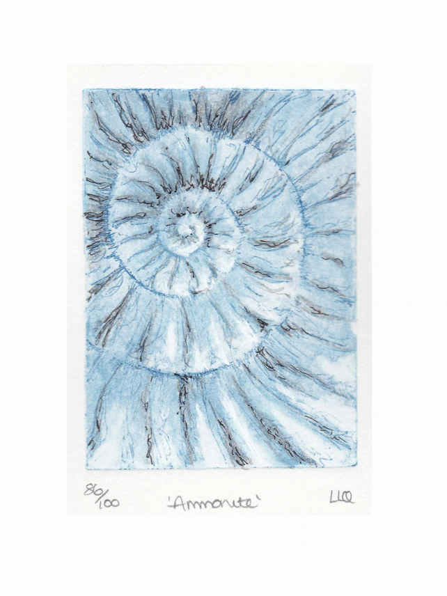 Etching no.86 of an ammonite fossil with mixed media in an edition of 100