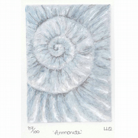 Etching no.87 of an ammonite fossil with mixed media in an edition of 100