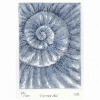 Etching no.88 of an ammonite fossil with mixed media in an edition of 100