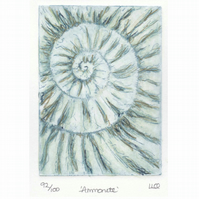 Etching no.92 of an ammonite fossil with mixed media in an edition of 100