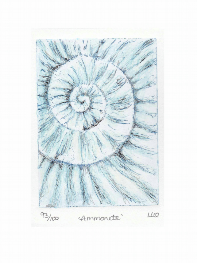 Etching no.93 of an ammonite fossil with mixed media in an edition of 100