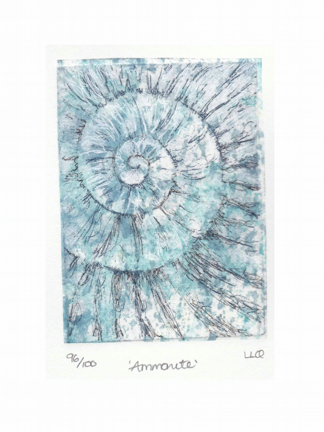 Etching no.96 of an ammonite fossil with mixed media in an edition of 100